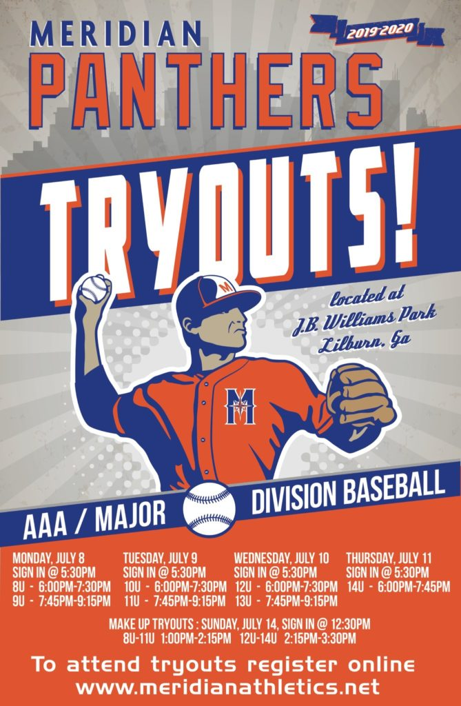 Meridian Athletics Tryout Flyer