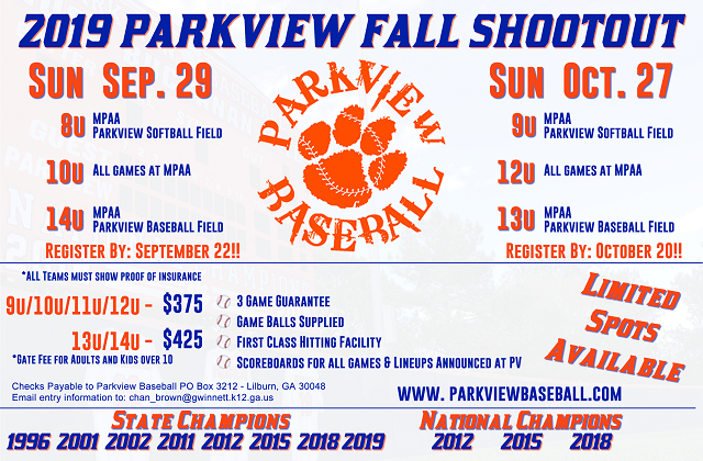 2019 Fall Shootout Flyer