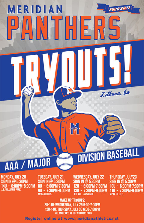 Meridian Athletics Tryout Flyer 2020